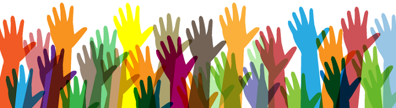 This is a stock, cartoon image of a bunch of multi-colored hands in the air, as if asking questions.