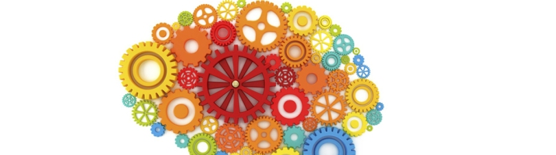 "This is a number of multi-colored gears in the shape of a human-brain, against a white background. The idea is ""gears of the mind."""