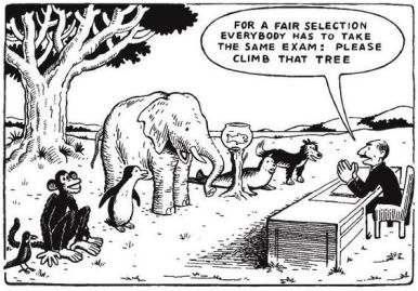 "This is a black-and-white cartoon. It features a line-up of animals - a bird, a monkey, penguin, elephant, fish in a bowl, seal, and a dog. A man sitting behind a desk (though they're outside) says, ""For a fair selection everyone has to take the same exam: climb that tree."""
