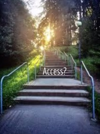 "This is a set of stairs at UCSC, in sets of three, leading up toward redwoods and a pretty sunset. The word ""access?"" is superimposed."